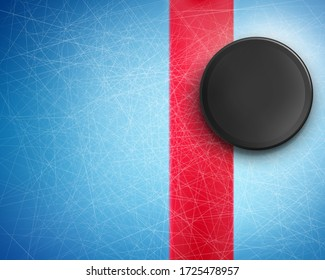 Vector 3d realistic black rubber puck on the blue ice with traces from skates. Hockey background, mockup for advertising poster, banner. Template for sport event, bets site, competition.