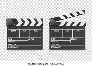 Vector 3d Realistic Blank Closed and Opened Movie Film Clap Board Icon Set Closeup Isolated on Transparent Background. Design Template of Clapperboard, Slapstick, Filmmaking Device. Front View