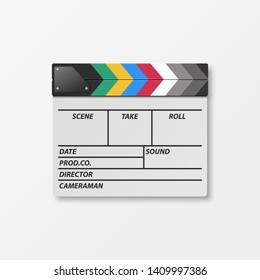 Vector 3d Realistic Blank Closed Movie Film Clap Board Icon Closeup Isolated on White Background. Design Template of Clapperboard, Slapstick, Filmmaking Device. Top View