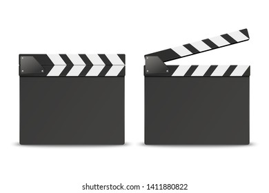 Vector 3d Realistic Blank Closed and Opened Movie Film Clap Board Icon Set Closeup Isolated on White Background. Design Template of Clapperboard, Slapstick, Filmmaking Device. Front View