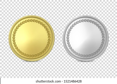 Vector 3d Realistic Blank Golden and Silver Metal Coin or Medal Icon Set Closeup Isolated on Transparent Background. Design Template, Clipart of Gold Money, Currency. Financial Concept. Front View