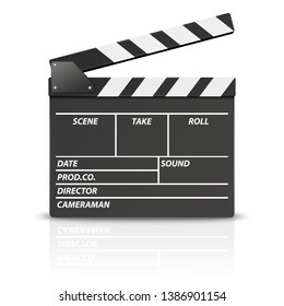 Vector 3d Realistic Blank Opened Movie Film Clap Board Icon Closeup Isolated on White Background. Design Template of Clapperboard, Slapstick, Filmmaking Device. Front View