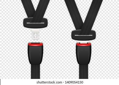 Vector 3d Realistic Blocked and Unblocked Passenger Seat Belt Set Clopeup Isolated on Transparent Backgroud. Design Template. Top View. Transport Safety Concept