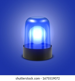 Vector 3d Realistic Blue Turn On Police Flasher Siren Closeup Isolated on Blue Background. Light, Beacon For Police Car, Ambulance, Fire Trucks. Emergency Flashing Siren. Front View