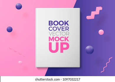 Vector 3d realistic book cover abstract scene with text, violet, pink and white balls and objects.