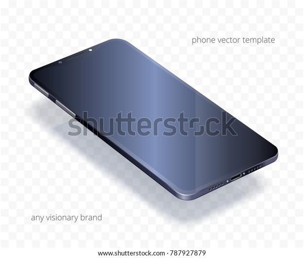 656d907640ff2c Vector 3d realistic cell phone. Black glossy template of any smartphone  with a blank display
