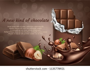 Vector 3d realistic chocolate with hazelnut ad poster, banner with liquid splashing drops. Brown delicious bars in package. Cocoa tasty product, yummy dark dessert. Mock up of packaging