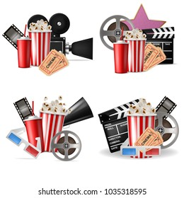 Vector 3d realistic cinema movie time background.