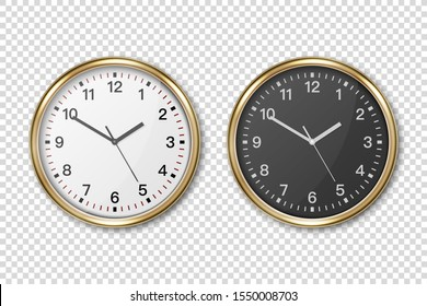 Vector 3d Realistic Classic Metal Golden Wall Office Clock Icon Set Closeup Isolated on Transparent Background. White and Black Dial. Design Template for Mockup. Front or Top View