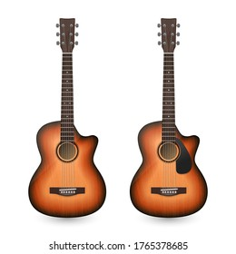 Vector 3d Realistic Classic Old Retro Acoustic Brown Wooden Guitar Icon Set Closeup Isolated on White Background. Design Templte, Mockup, Clipart. Musical Art Concept