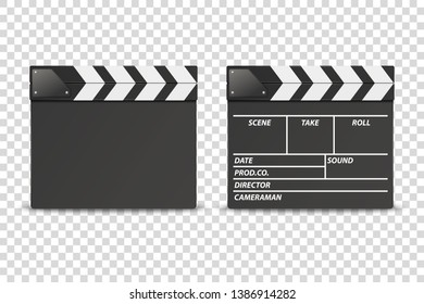 Vector 3d Realistic Closed Movie Film Clap Board Icon Set Closeup Isolated on Transparent Background. Design Template of Clapperboard, Slapstick, Filmmaking Device. Front View