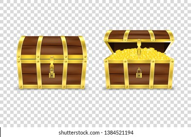 Vector 3d Realistic Closed and Opened Retro Vintage Antique Old Treasure Wooden Pirate Chest with Glow Gold Coins and Padlock Closeup Isolated on Transparent Background. Design Template