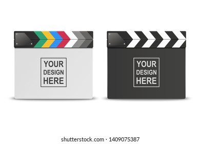 Vector 3d Realistic Closed White and Black Blank Movie Film Clap Board Icon Set Closeup Isolated on White Background. Design Template of Clapperboard, Slapstick, Filmmaking Device. Front View
