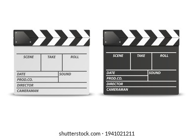 Vector 3d Realistic Closed White and Black Movie Film Clap Board Icon Set Closeup Isolated on White Background. Design Template of Clapperboard, Slapstick, Filmmaking Device. Front View