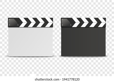 Vector 3d Realistic Closed White and Black Movie Film Clap Board Icon Set Closeup Isolated on Transoparent Background. Design Template of Clapperboard, Slapstick, Filmmaking Device. Front View