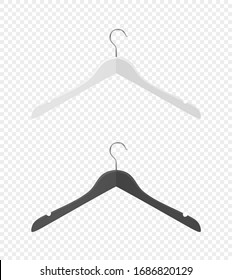Vector 3d Realistic Clothes Coat Wooden Textured Black, White Hanger Set Closeup Isolated on Transparent Background. Design Template, Clipart or Mockup for Graphics, Advertising etc. Front, Top View