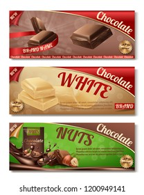 Vector 3d realistic collection of chocolate packaging. Horizontal labels of tasty product with nuts, white milk sweetness. Design of boxes, brand illustration for ad posters, promo banners.