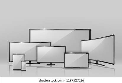 Vector 3d realistic collection of different screens - notebook, smartphone or tablet. Modern digital technology in size variations. Widescreen TV, empty LCD display isolated on grey background.