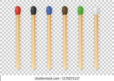 Vector 3d realistic colorful match stick icon set, closeup isolated on transparency grid background. Red head, black, blue, brown, green, white. Design template, clipart for graphics