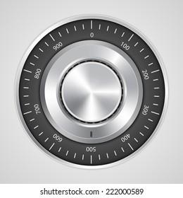 Vector 3d realistic combination safe lock.