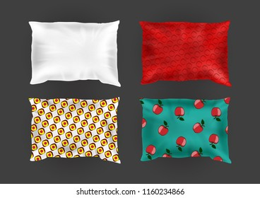 Vector 3d realistic comfortable square pillows in bright pillowcases, different patterns on silk, cotton fabric. Template, mock up of fluffy crumpled cushion for relaxation, sleep, nap, bedding, rest