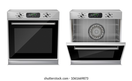 Vector 3d realistic compact oven with digital display, timer, pre-set cooking programs, with open and close door, isolated on background. Built-in household appliance, modern multifunction stove