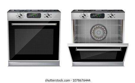 Vector 3d realistic compact oven, gas stove with open and close door isolated on white background. Household appliance with digital display, burners, timer, cooking programs, grill and fan inside