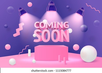 Vector 3d realistic corner wall abstract scene - coming soon spotlights on podium and pink, white and violet balls and objects.