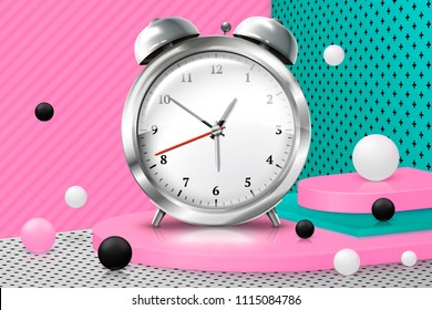 Vector 3d realistic corner wall abstract scene with text, podium and old fashioned clockwork watches ball, pink, white, black and green balls and objects.