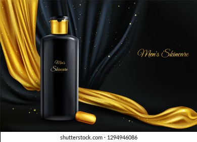 Vector 3d realistic cosmetic background, mock up of luxury cosmetics for men, concept with black bottle, oil capsule and golden fabric, cloth. Skincare liquid, lotion in jar