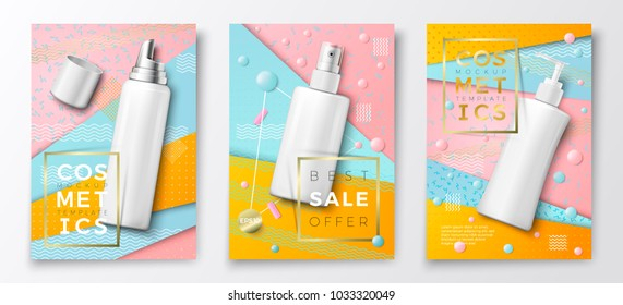 Vector 3d realistic cosmetic bottles advertisement poster templates,on bright modern background with geometric shapes. Mock-up for product package branding. Mousse, spray and dispenser bottles.