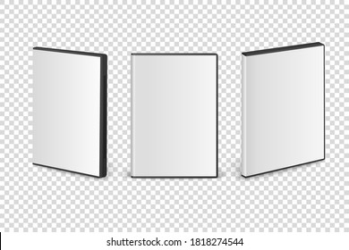 Vector 3d Realistic Cover Box for CD, DVD Set Closeup Isolated on Transparent Background. Design template. CD Packaging Copy Space. Front View