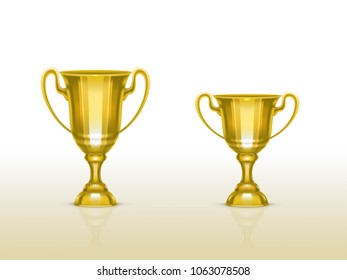 Vector 3d realistic cup, golden trophy for winner of competition, championship. Shiny gold metal goblet for success, victory. Reward, prize isolated on white background. Achievement design