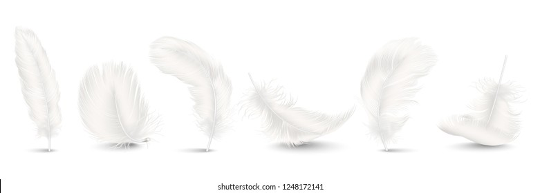 Vector 3d Realistic Different Falling White Fluffy Twirled Feather Set Closeup Isolated on White Background. Design Template, Clipart of Angel or Bird Detailed Feather in Various Shapes