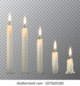 Vector 3d realistic different whiteparaffin or wax burning party candle icon set closeup isolated on transparency grid background. Whole, melted and candle stump. Design template, clipart for graphics