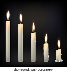 Vector 3d realistic different whiteparaffin or wax burning party candle icon set closeup isolated on dark background. Whole, melted and candle stump. Design template, clipart for graphics