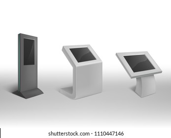 Vector 3d realistic digital informational kiosks. Interactive digital signage, stand with blank screen, electronic touchscreen. Mock up, template to showcasing info or advertising projects