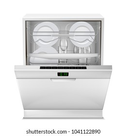 Vector 3d realistic dishwasher machine with digital display, with open door, filled with clean plates and glasses, front view isolated on background. Modern household appliance for washing dishes