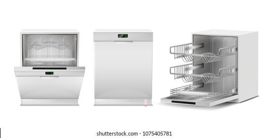 Vector 3d realistic dishwasher with open, closed door, digital display. Front, side view of dishwashing machine isolated on white background. Modern household appliance for washing utensil, dishware