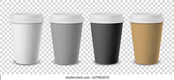 Vector 3d Realistic Disposable Closed Paper, Plastic Coffee Cup for Drinks with White Lid Set Closeup Isolated on Transparent Background. Design Template, Mockup. Front View