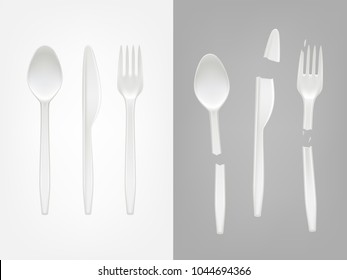 Vector 3d realistic disposable plastic cutlery - spoon, fork, knife and broken tools. Mock up of picnic party tableware isolated icons set on gray background. Template of eco kitchenware