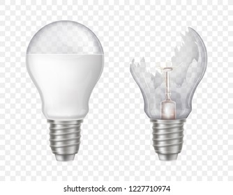 Vector 3d realistic electric lightbulbs. LED technology, eco-friendly, energy-efficient innovation. Illumination equipment with broken glass, sharp splinters. Transparent bulbs isolated on background