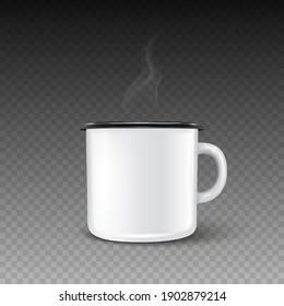 Vector 3d Realistic Enamel Metal Blank White Mug with Hot Drink and Smoke Isolated on Transparent Background. Front View. Tea, Coffee Cup. Design Template for Mockup