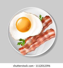 Vector 3d realistic english breakfast - tasty bacon, fried egg with green parsley on white plate. Delicious, healthy food on porcelain dish isolated on gray background. Natural nutrition