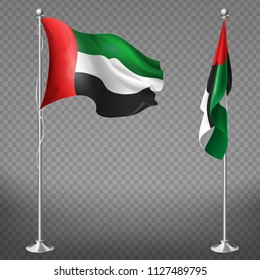 Vector 3d realistic flags of United Arab Emirates on steel poles isolated on transparent background. National symbol of UAE, silk waving banner on flagpole in green, white, black and red colors