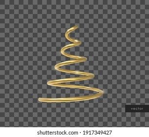 Vector 3d realistic geometric object. Isolated metallic gold helix shape.
