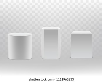 Vector 3d realistic geometrical shapes isolated on transparent background. White cylinder, hexagon and cube with shadows. Design elements, great for podium, pedestal or as basic packaging.