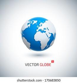 Vector 3D realistic globe icon.
