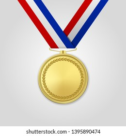 Vector 3d Realistic Gold Award Medal with Color Ribbon Closeup Isolated on White Background. The First Place, Prize. Sport Tournament, Victory Concept