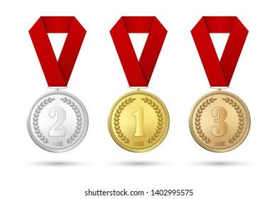 Vector 3d Realistic Gold, Silver and Bronze Award Medal Icon Set with Color Ribbons Closeup Isolated on White Background. The First, Second, Third Place, Prizes. Sport Tournament, Victory Concept